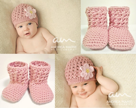 Preemie, Newborn, Baby Hat and Booties set - MADE TO ORDER Textured Beanie and Textured Booties