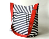 Featured on The Martha Stewart BEST SELLER Diaper bag/Beach Tote Bag STOCKHOLM Navy blue  white nautical striped - Hgtv Baby talk magazine