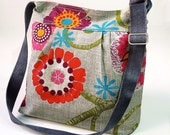Mimosa Gray Diaper bag - Messenger  spring floral print with garnet red pink turquoise flower - 10 pockets
