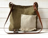 Eco friendly Cross body bag /  Messenger bag / Laptop bag tote moss green-MADE TO ORDER