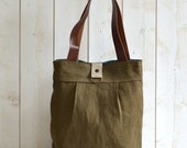 Reserved Michelle - ROT PROOF French Messenger bag / Laptop bag tote moss green linen Bag with brown leather double straps