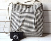 WATER PROOF Diaper bag Black and Ecru French Ticking striped Pleated French Messenger / 10 pockets / Made to order