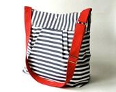 IKABAGS Diaper bag - Shoulder Bag - Messenger bag- Travel trip bag STOCKHOLM Navy and white Baby talk magazine june/july featured