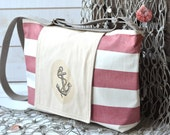 Water-resistant NAUTICAL French TOTE Diaper bag/Messenger bag Red and ecru striped -  8 Pockets