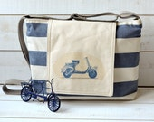 Water-resistant NAUTICAL French TOTE Diaper bag/Messenger bag Blue and ecru striped - Scooter flap