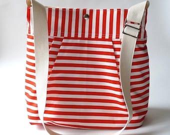 BEST SELLER Diaper bag/Messenger bag STOCKHOLM Red and white nautical striped - Martha Stewart , Baby talk magazine