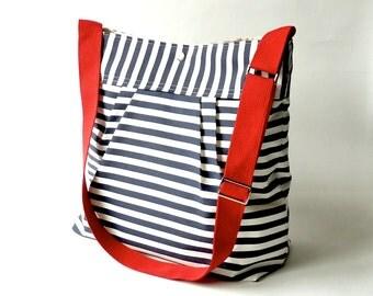 Featured on The Martha Stewart BEST SELLER Diaper bag/Beach Tote Bag STOCKHOLM Navy blue  white nautical striped - Hgtv Baby talk magazine