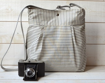 WATER PROOF Diaper bag Gray and Ecru French Ticking stripe Pleated French Messenger - 12 Pockets