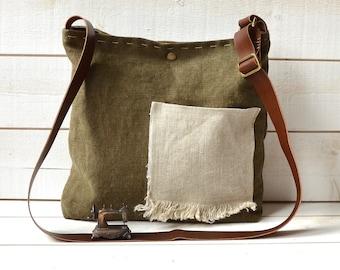 Eco friendly Cross body bag /  Messenger bag / Laptop bag tote moss green-MADE TO ORDER