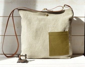 Eco friendly linen Cross body bag/Messenger bag / Laptop bag /tote bag/boho bag with leather strap Paris fashion