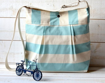 Diaper bag STOCKHOLM Pale Turquoise and Ecru Striped nautical  10 POCKETS / Made to order