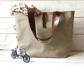 ROT PROOF  Eco friendly French bag  with Leather strap / Market tote with LINEN