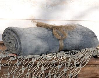 GRAY Blanket / Eco Friendly  French country Linen Blanket / Natural Gray Cristal picnic blanket / Linen Blanket / Stroller Blanket