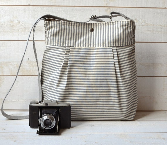 WATER PROOF Diaper bag Gray and Ecru French Ticking stripe bag purse  Pleated French Messenger - 10 Pockets  / Made to order