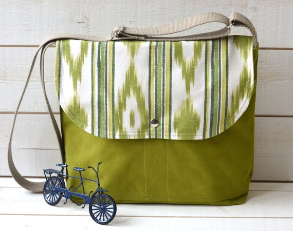 LAST ONE - Ikat Bright  chartreuse green Messenger bag / Cross body bag / Travel bag in apple green/ Ready to ship