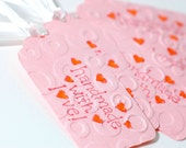 Handmade with Love Embossed Gift or Label Tags, Set of Fives.