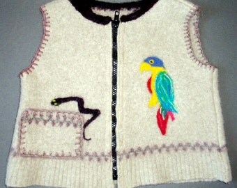 Felted Boys Wool Sweater Vest with parrot and skull trim