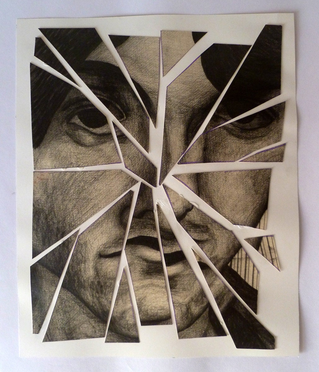 broken mirror portrait original drawing by velveeta