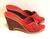 70s Wedge Sandals / Red Leather with Cutouts and Buckle / Size 6