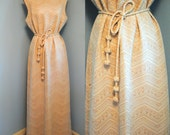 60s Metallic Maxi Dress. Grecian-Style  Vintage Dress with Belt and Rhinestone Buttons/ Size Large to Extra Large