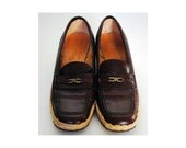Vintage Oxblood Loafer with Espadrille Wedge Sole by Etienne Aigner / Size 7