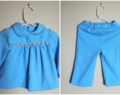 70s Toddler Two Piece Pantsuit/ Light Blue Pants and Top with Peter Pan Collar/ Size 2T