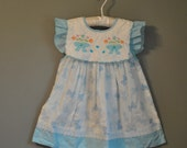 Vintage Toddler Bow Dress/ Blue and White Novelty Print Dress with Bib Collar and Lace Trim/ Size 18 months