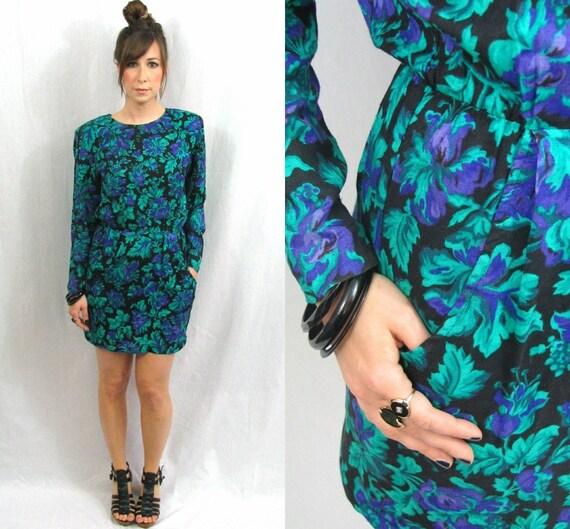 RESERVED for wordord--Miskabelle Vintage Redesign Black Floral Mini Dress