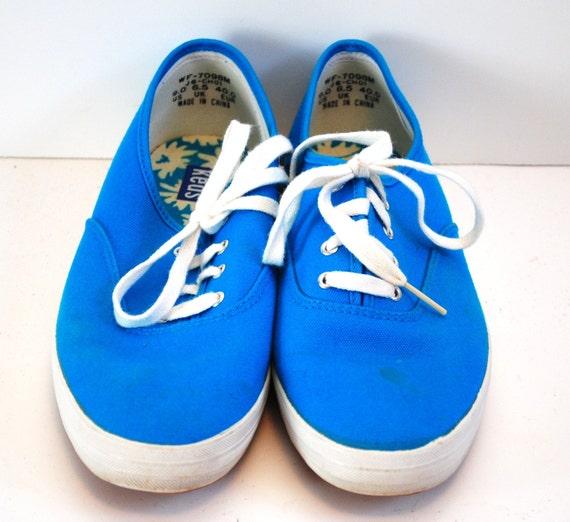 Vintage Turquois Blue Canvas Keds Sneakers sz 9
