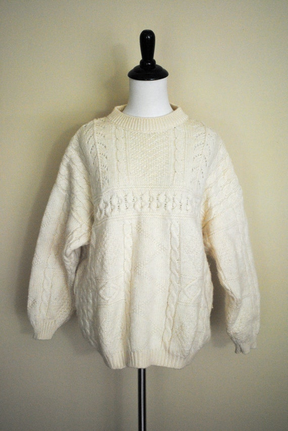 Vintage Ivory Fisherman Sweater by Benetton / Cable Knit Pullover / Size Medium to Large