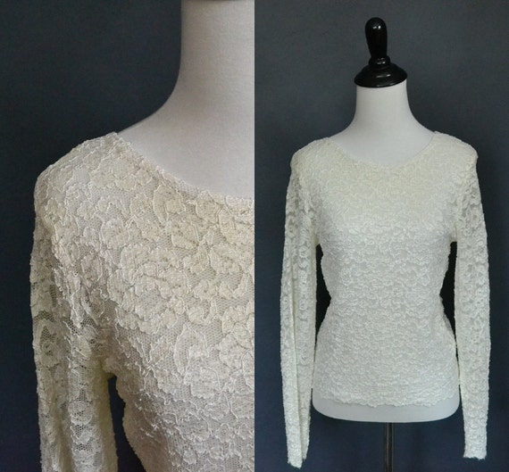 Vintage Cream Lace Top / Long Sleeve / size medium