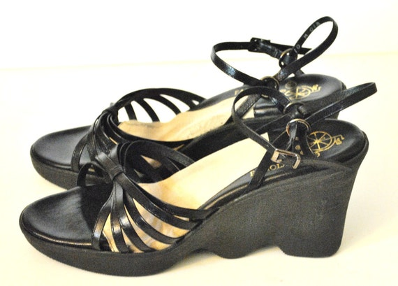 1970s Black Strappy Platforms by Famolare/ Disco Wedges/ Size 10