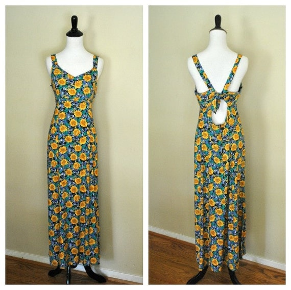 90s Floral Maxi Dress with Open Backt/ Sunflower Grunge Dress/ Size Medium to Large