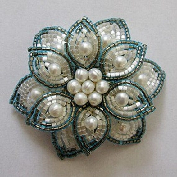 French Beaded Flower Brooch