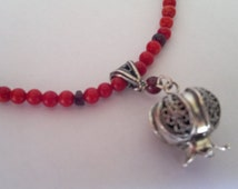 Sterling Silver Necklace Pendant Pomegranate garnets corals  Israeli necklace jewelry