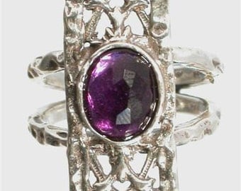 Israeli handcrafted ring sterling silver 925 set with amethyst