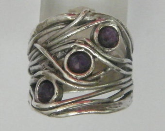 Sterling silver onyx ring made in Israel handcrafted jewelry