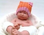Orange Pink Baby Hat Photo Prop - Organic Cotton - Cat Beanie