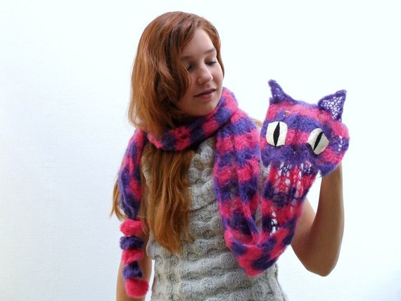 Pink Purple Striped Cheshire Cat Scarf - Hand knit mohair