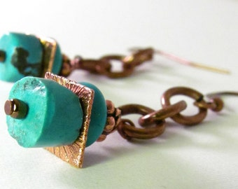 Turquoise and Copper Chain Earrings Handmade Earrings