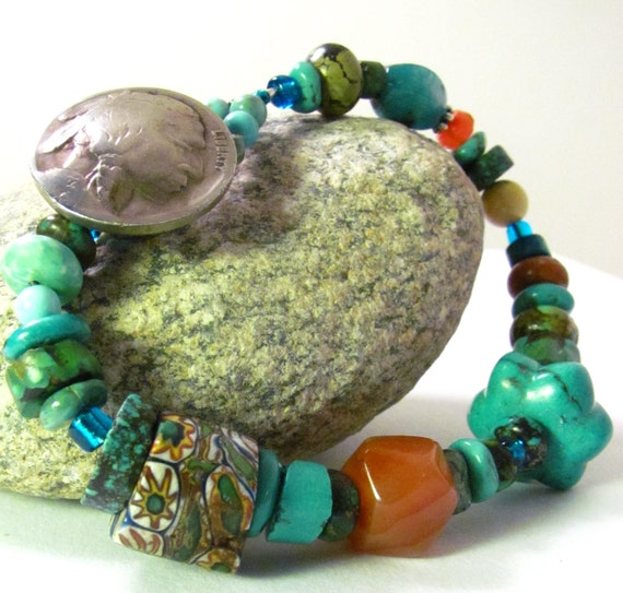 Indian Head Nickel Button Turquoise Bracelet