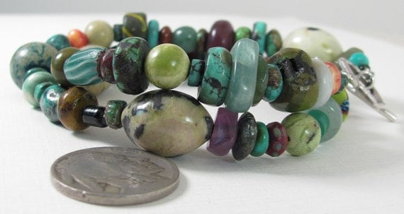 African Trade Bead Turquoise Necklace Wrap Bracelet Etsy
