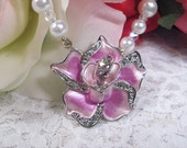 Young At Heart - Pink Jeweled Flower - Necklace