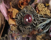 Old World Victorian Pendant - Pink Jewel with Dragonfly