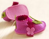 Baby mary janes, girls pink shoes, LaLa Rose butterflies crib shoes, infant house slippers, shower gift