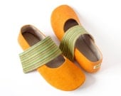 Women's ballet flats slippers  Joules Orange house shoes - custom made to measure vegan mary jane house slippers
