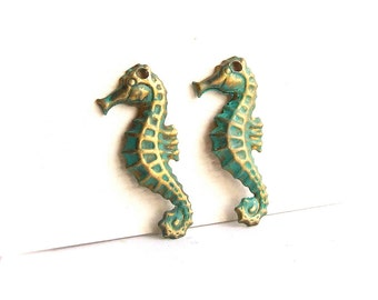 Verdigris Patina Brass Seahorse Charms - 2 pcs. - Patina Components - Left Facing Pair
