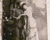 Early 1900's Cabinet Photo Lovers Postcard - Lean on Me