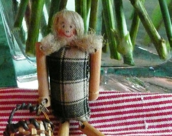 Vintage Miniature Handmade Cloth and Wood Doll Pin with basket