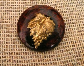 Bakelite Tortoise Button Brooch with Brass Grapes